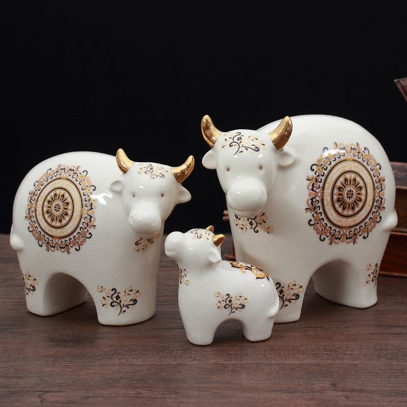 欧式美式创意软装饰品生肖牛可爱动物羊摆件客厅博古架书房工艺品_2