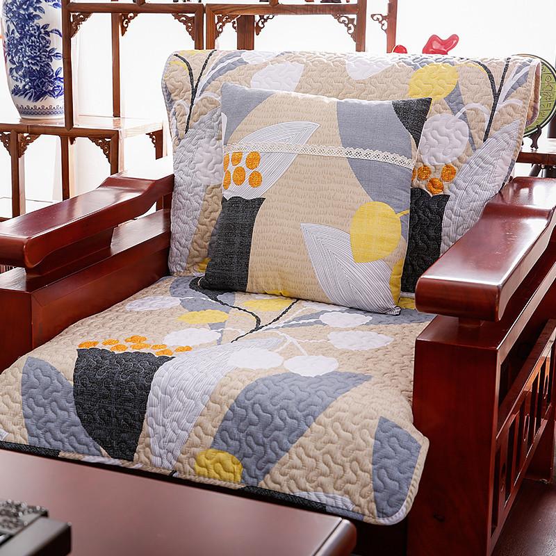 中式纯棉布艺沙发垫全棉沙发巾套坐垫格子实木真皮沙发垫_3 70*180cm图片
