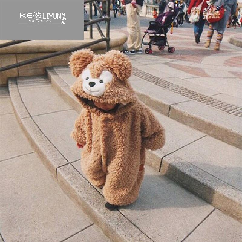 17秋冬熊宝宝连体衣爬服衣服哈萌熊婴儿可爱达菲熊睡衣加绒 适合身高