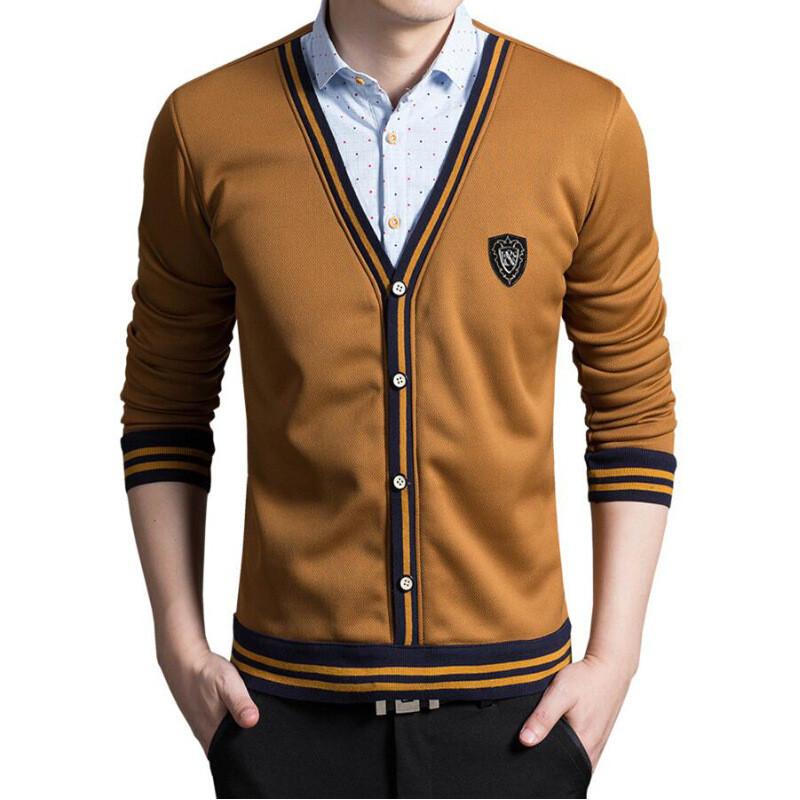 长袖衬衫加绒加厚保暖衬衫男士商务休闲假两件针织衫毛衣男秋冬新款 x