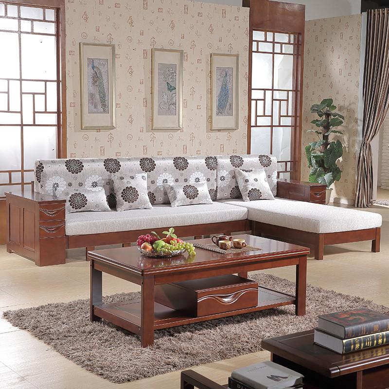 老故居 实木沙发 多功能沙发床 小户型客厅简约休闲组合木头转角贵妃