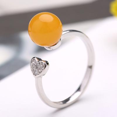 印象眸s925银镶蜜蜡戒指心形时尚活口戒指指环可调节