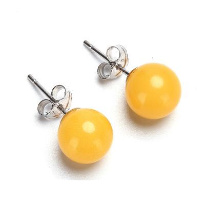 月印百川 925银镶嵌琥珀蜜蜡圆珠耳钉 耳环