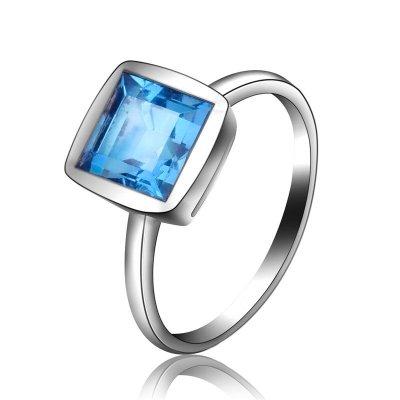 梦克拉Mkela 18K金镶蓝色托帕石戒指 奇蓝 女士 宝石戒指