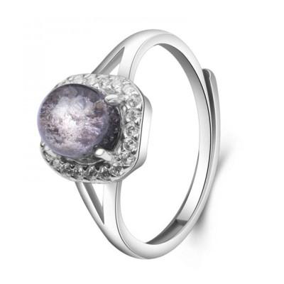 梦克拉 Mkela s925银镶嵌发晶戒指 享爱 创意礼品 戒指 水晶 甜美可爱 女士