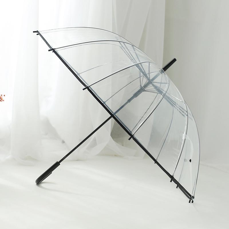 女士直杆透明伞 加大防风可爱雨伞长柄伞