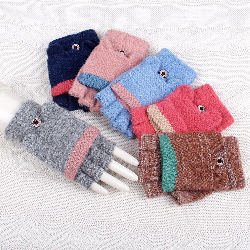 百瑞欧 猫耳朵可爱翻盖手套女 半指学生毛线露指手套女冬保暖逛街
