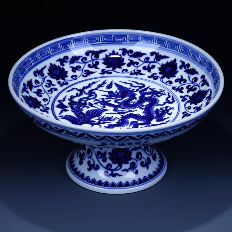 淘瓷缘景德镇瓷器大盘手绘青花瓷水果盘摆件挂盘贡盘陶瓷艺术品家居