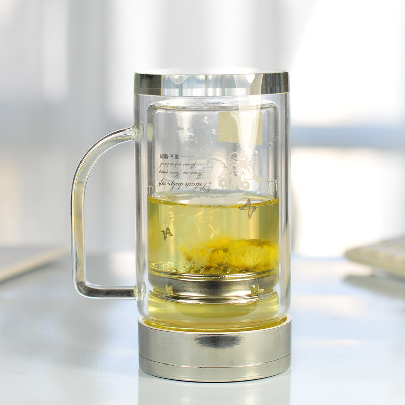 富光320ml 办公玻璃杯子双层隔热水晶透明水杯带柄茶杯 702b