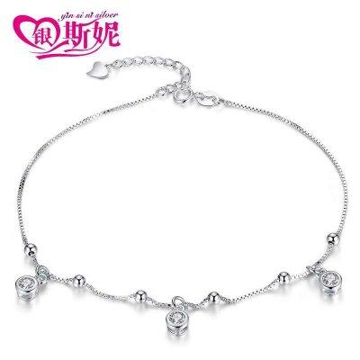 銀斯妮 925銀腳鏈女韓版簡約閃耀盒子鏈螺絲白色時尚配飾夏銀飾