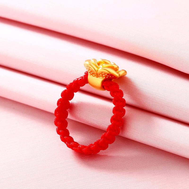 钻石快线 红绳黄金戒指 3d硬足金玫瑰转运珠红绳女戒指