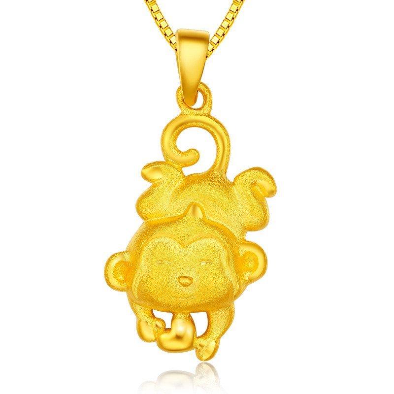 黄金猴子吊坠囹�a_东祥新品黄金猴子吊坠女款金饰3d硬金猴吊坠生肖猴金吊坠女爱心猴