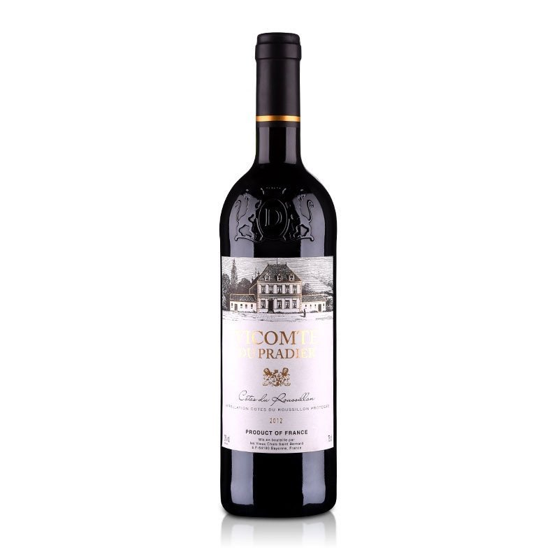 酒仙网 13度 法国 原瓶 进口 aoc普拉迪子爵干红葡萄酒750ml*2(双支