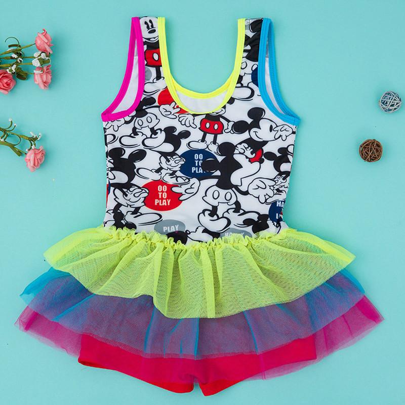 儿童泳衣 新款女孩连体裙式蕾丝可爱公主小童中童大童