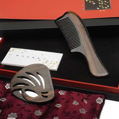 譚木匠 SP禮盒梳羽 梳鏡套裝 黑檀木 牛角梳 梳子 鏡子 送女士