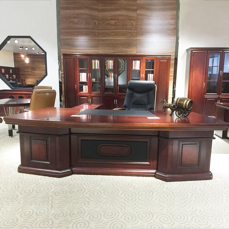 实木皮油漆大班台 古典大气总裁桌 老板台 总经理办公