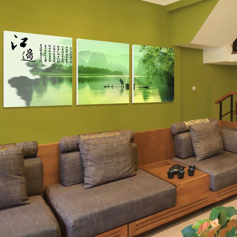 美时美刻新中式沙发背景墙装饰画 江边渔夫无框画客厅