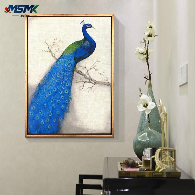 蓝孔雀青花瓷瓶油画美式客厅装饰画酒店壁画欧式玄关挂画三联画