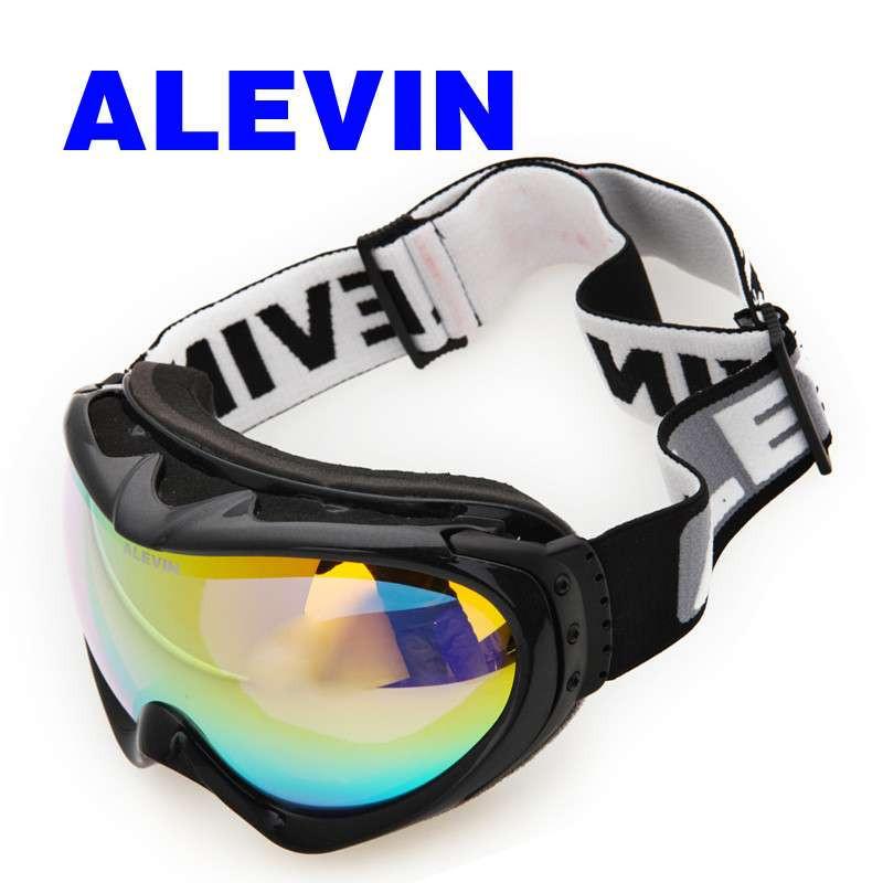 alevin艾乐威 双层球面防雾滑雪镜 防风防雾滑雪眼镜 男女黑白情侣款