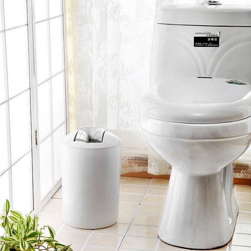 欧式带盖时尚创意垃圾桶马桶刷套装 卫生间洗手间厕所摇盖纸篓马桶