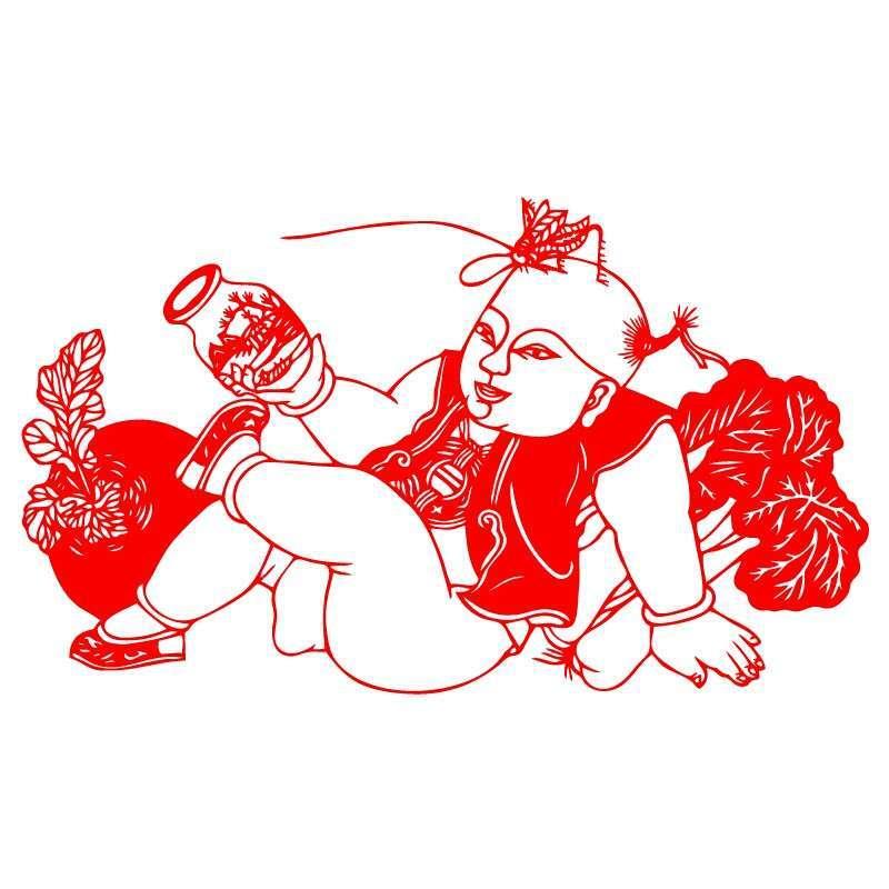 鸡年门贴中国结剪纸喜手工窗花积木年画玻璃门贴鸡福字装饰春联门神