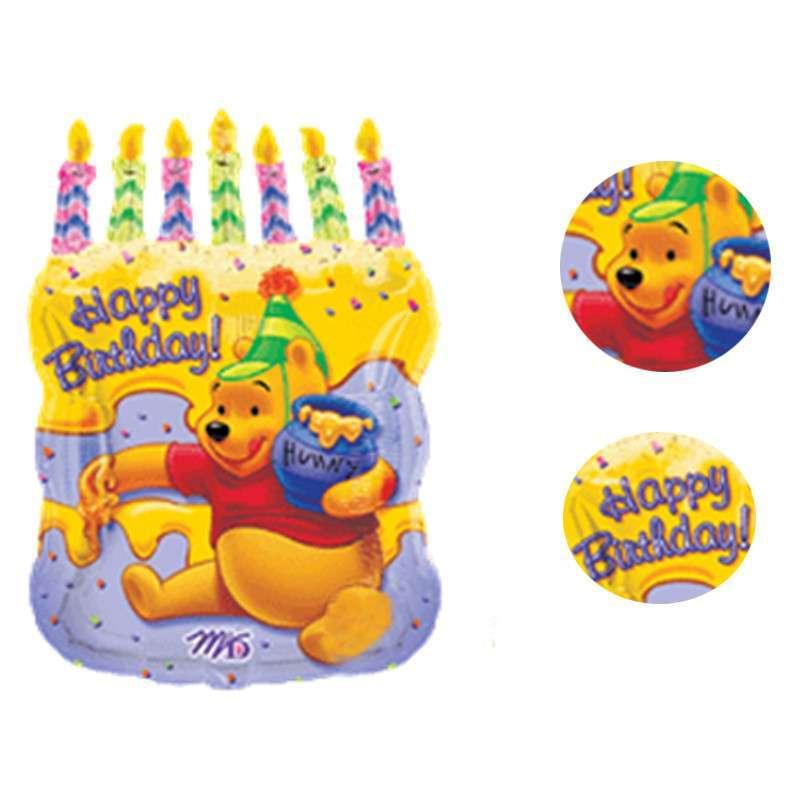 孩派/维尼熊蛋糕铝箔气球/party用品/宝宝派对装饰/大号