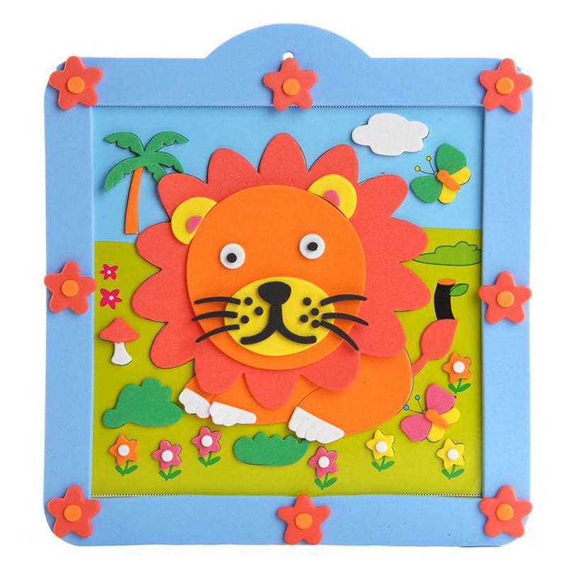 孩派eva儿童贴画手工制作方形圆形相框贴画材料包 12款小相框
