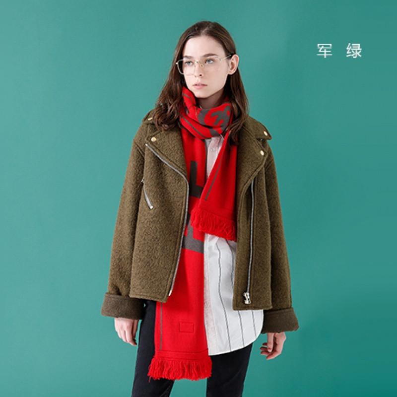 初语秋季新款帅气初中外套短款西装直筒毛呢的夹克女友自拍图片
