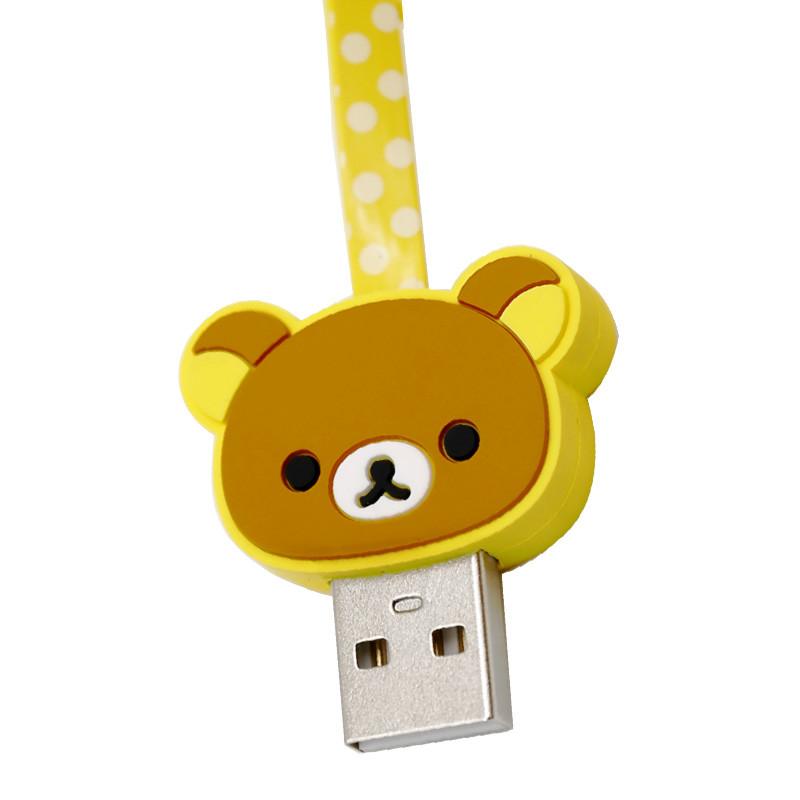20号发货】轻松熊印花卡通熊头数据线安卓手机通用充电线1米 熊哥哥图片