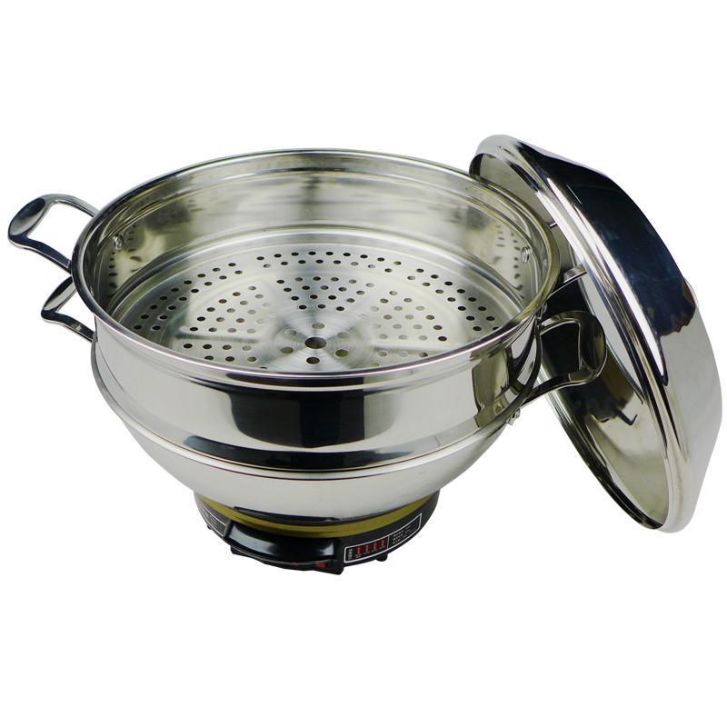 惠当家hdj加厚多功能电热锅不锈钢电炒锅家用电蒸锅电