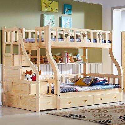 实木卧室组合 儿童卧室 挂梯(书架 双抽)双层床-包安装 1.