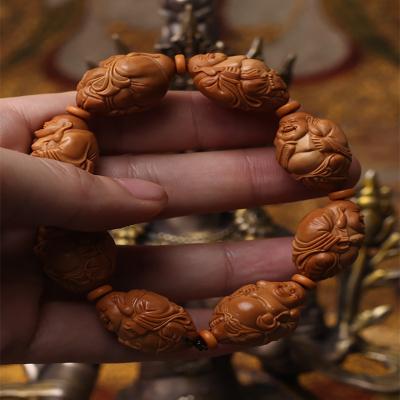 橄榄核雕刻八宝弥勒手串八大弥勒文玩把玩橄榄手串手链男