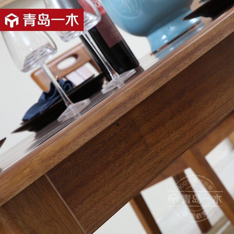 青岛一木新中式餐桌 实木餐桌椅组合现代小户型金丝胡桃木餐桌椅