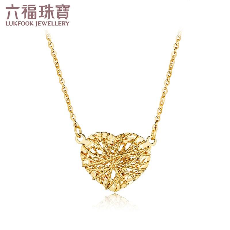 六福珠宝18k金项链爱缠心彩金项链套链定价l18tbkn0032r/l18tbkn0032w
