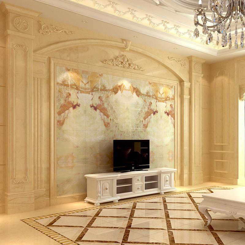 唐梦 瓷砖背景墙 欧式电视背景墙 仿大理石微晶石墙砖