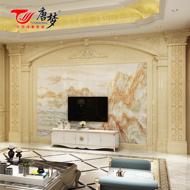 唐梦 定制罗马柱仿大理石电视墙边框线条电视背景墙客厅 罗马柱