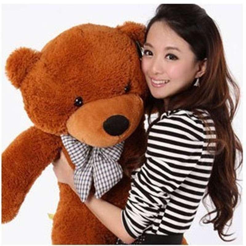 熙幼伊 可爱 泰迪熊 毛绒玩具布娃娃 公仔抱抱熊 深棕色 1米