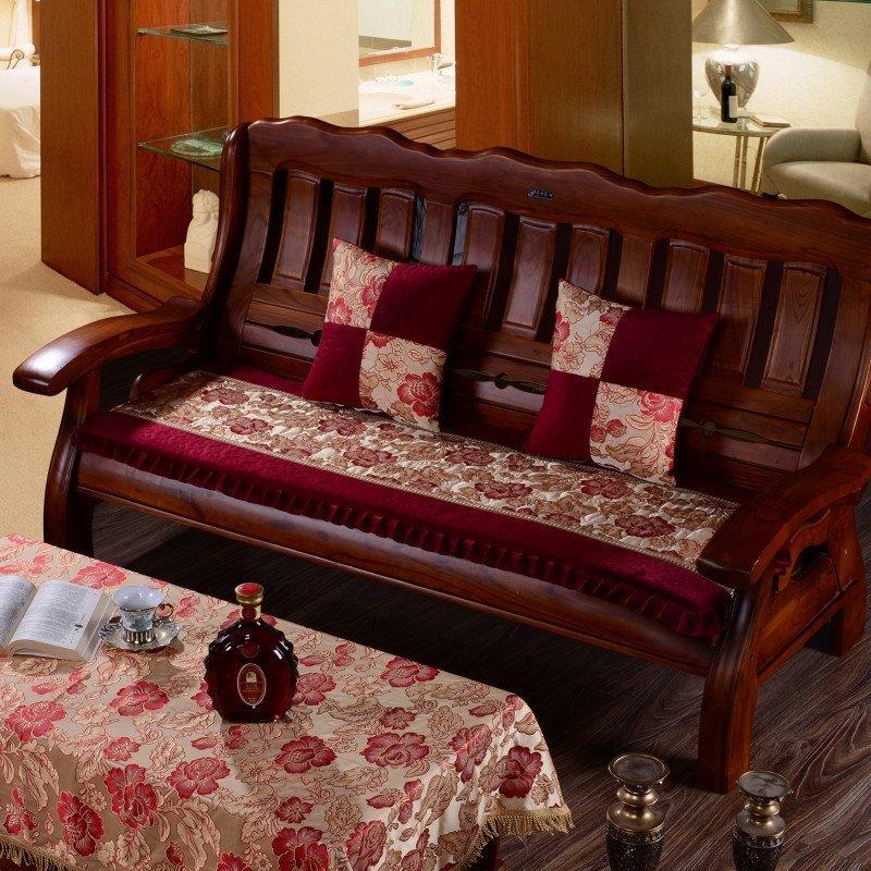法莱绒实木红木沙发单坐垫