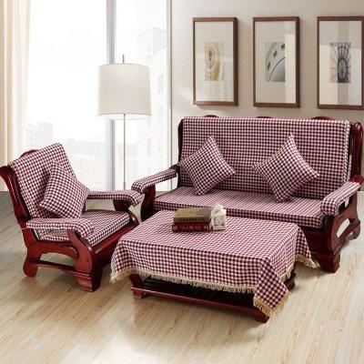 添富贵 亚麻实木红木沙发垫套装 加厚海绵办公室联邦椅子座垫带靠背