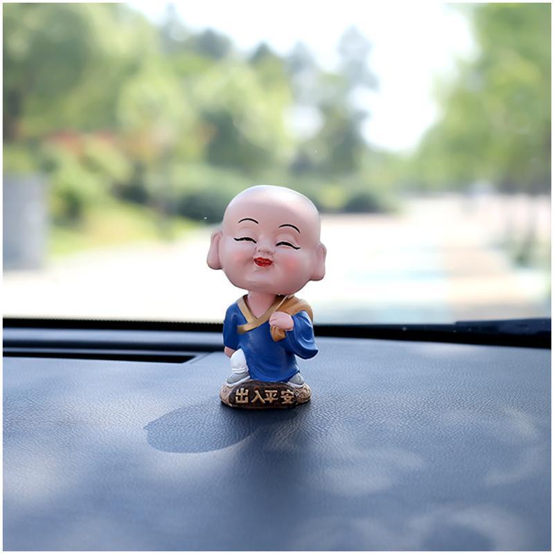 小白菜 汽车摆件车内饰品可爱摇头小和尚车载仪表中控