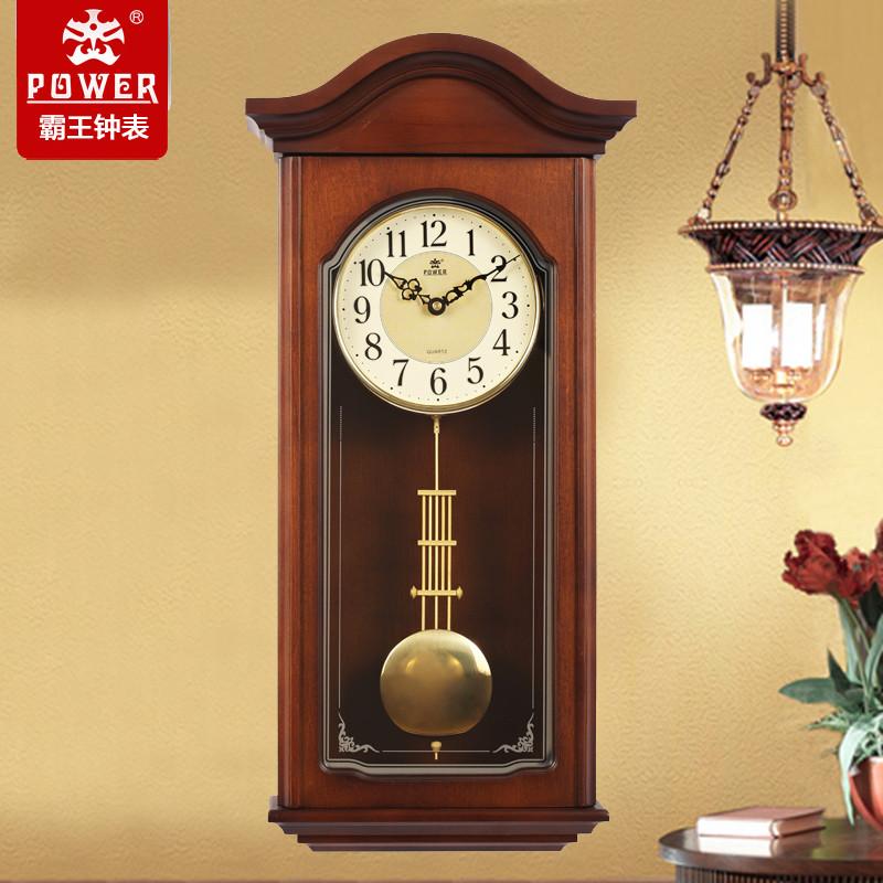 霸王实木挂钟中式客厅石英钟欧式创意复古摆钟仿古静音摇摆时钟