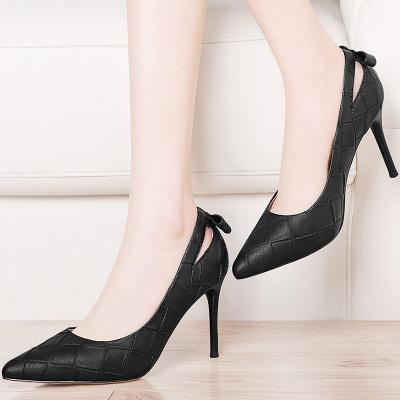 百年紀念 新款尖頭單鞋女細跟高跟鞋韓版蝴蝶結女鞋OL工作鞋 啟隆名品1436