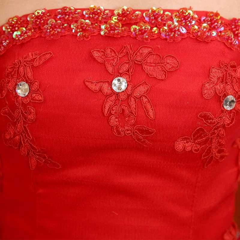 黛米琦大红色婚纱礼服最新款抹胸绑带蕾丝边蝴蝶结新娘结婚婚纱