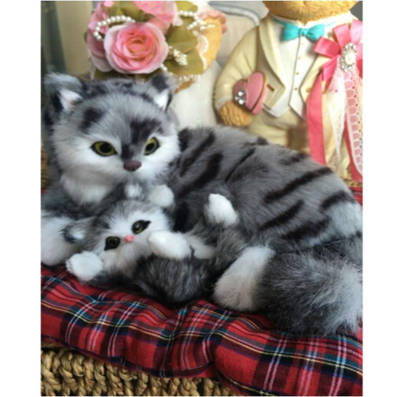 中天乐 仿真动物仿真猫母子猫咪儿童礼物玩具汽车摆件