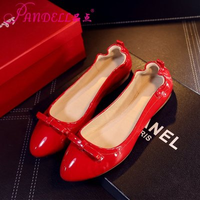 品点(Pandell)新款柔软鞋底蛋卷鞋真皮内里豆豆鞋平底单鞋休闲鞋女防滑耐磨孕妇鞋开车鞋女鞋