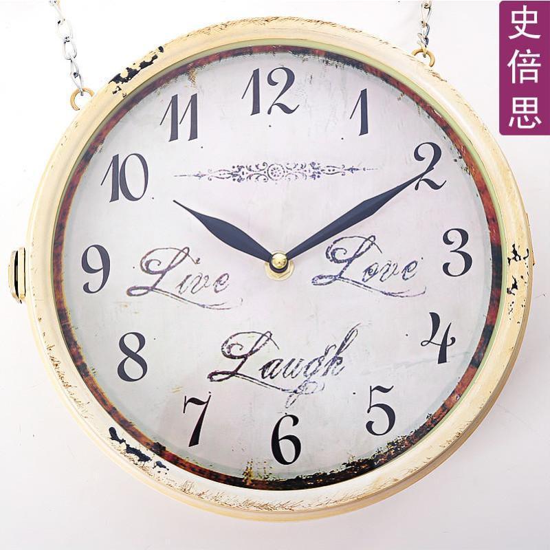 欧式双面挂钟 客厅装饰创意时尚壁挂钟