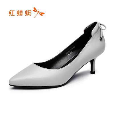 红蜻蜓女鞋冬款真皮女单鞋尖头浅口细跟女士皮鞋蝴蝶结中跟套脚女鞋婚鞋