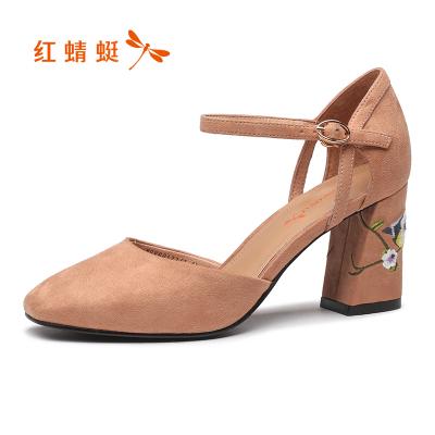 紅蜻蜓女鞋夏季一字扣單鞋絨面繡花女鞋子氣質優雅粗跟淺口高跟鞋