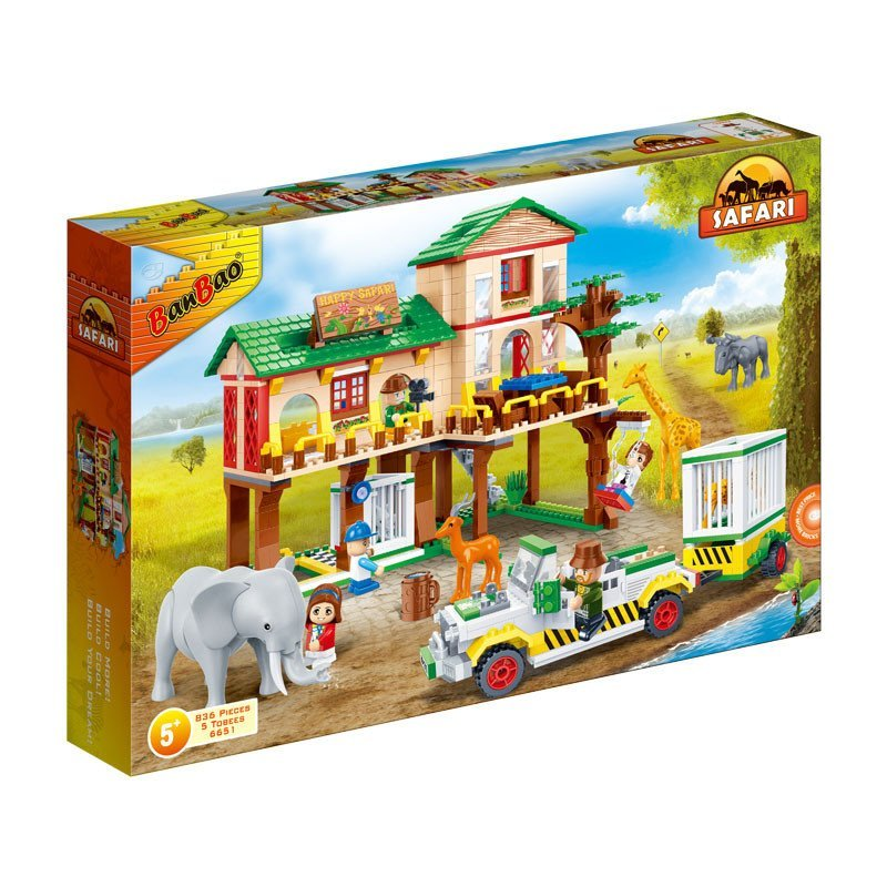 邦宝儿童玩具积木立体拼插塑料积木动物套装动物大本营益智拼装玩具 8