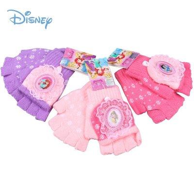 迪士尼公主手套女童毛線針織半指套全指套冬季兒童兩用保暖手套DS00137